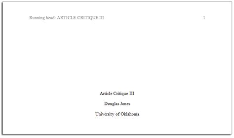 Apa Format Title Page Turabian Style Title Page