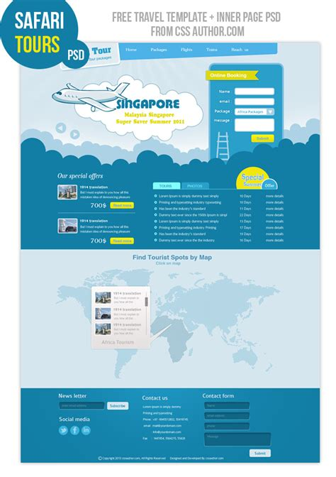 Tourism Website Design Free Templates by Travel Web Design Template Freebies Fribly