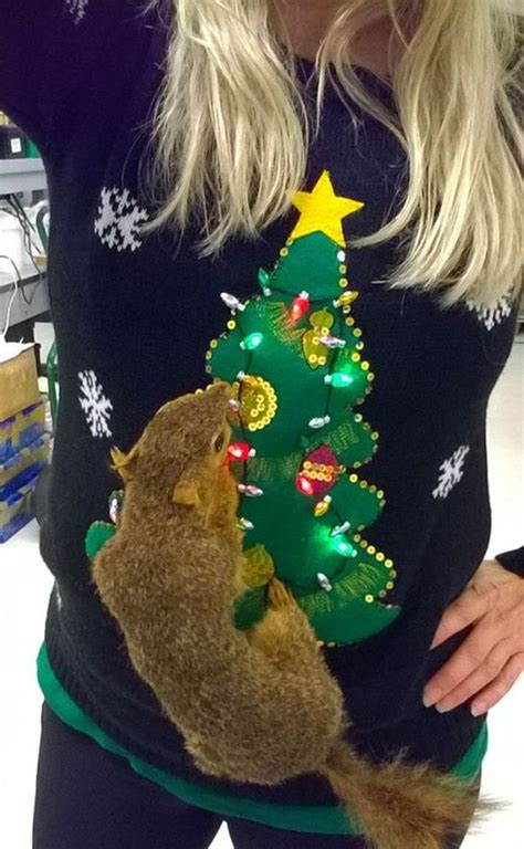 picture  faux squirrel ugly sweater   tree  lights