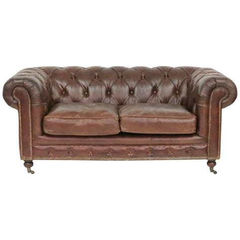 chesterfield sofa brown leather brown tufted leather chesterfield sofa for sale at 1stdibs