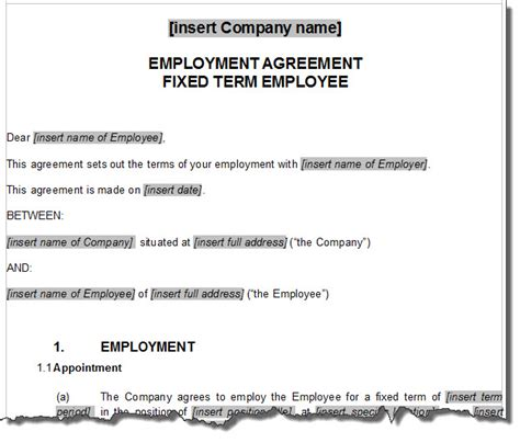 Employment Agreement Template  Non Compete Agreement