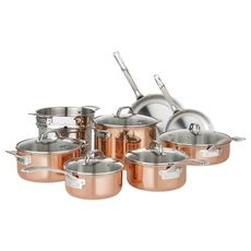 viking culinary   copper cookware set  pc stainless steel vip outlet