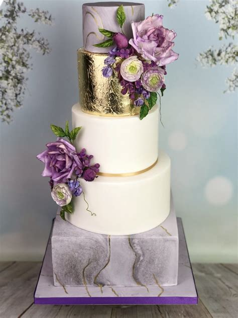Wedding Cake Marble Effect With Sugar Flowers Mels