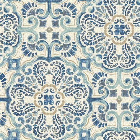nuwallpaper blue florentine tile peel and stick wallpaper sle nu2235sam the home depot