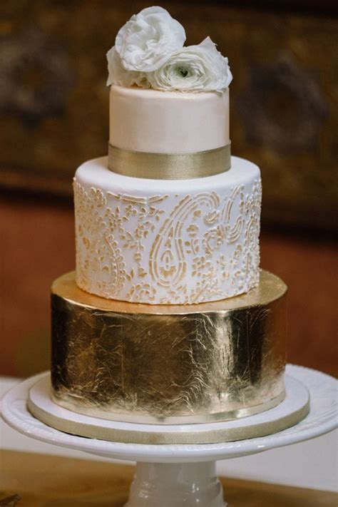 rustic glam gold foil  tiered wedding cake