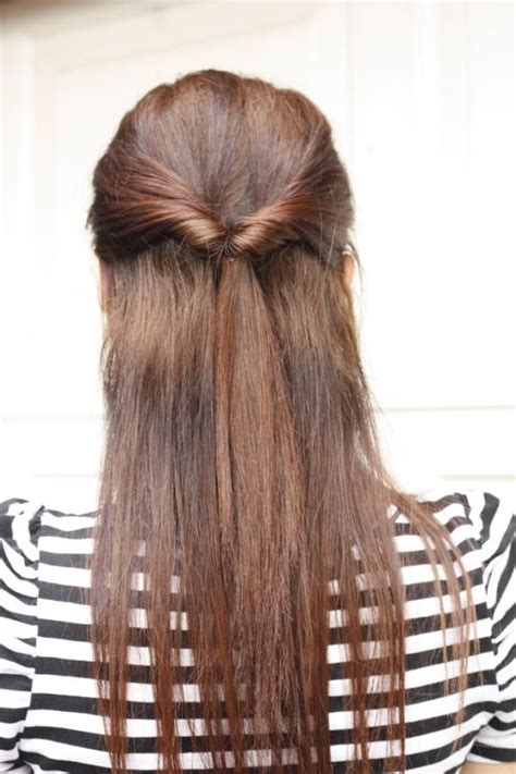 quick   style  long straight hair tied