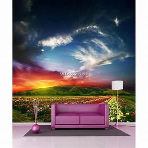 Papier Peint Geant : papier peint g ant champs de fleurs 11096 stickers ~ Premium-room.com Idées de Décoration