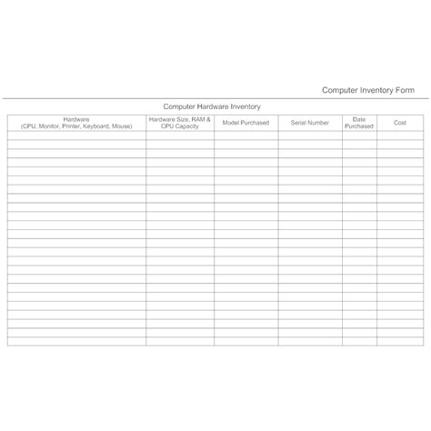 computer hardware inventory form