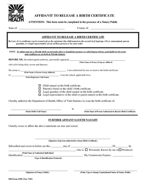 florida affidavit form free florida affidavit of birth form free download