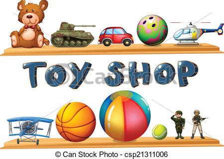 Toy Store Sign Template by Illustration Of A Toy Shop On A White Background Vector