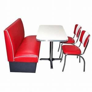 Ensemble Table Et Chaise Cuisine : table blanche banquette et chaises rouge us way of life ~ Melissatoandfro.com Idées de Décoration