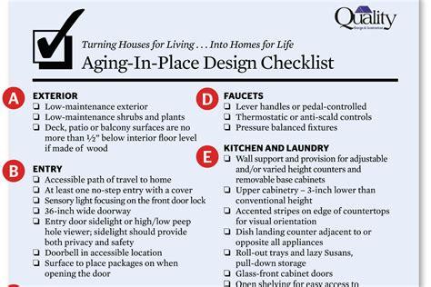 Home Design Checklist :  Universal Design Checklist