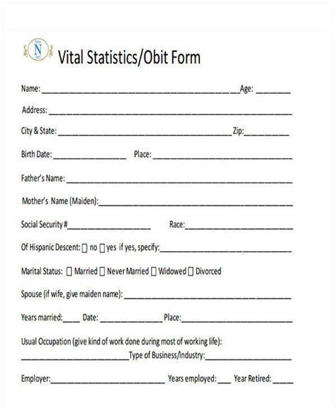 fill in the blank obituary template 33 sle obituary sle templates