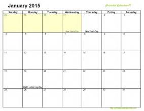 Fillable Monthly Calendar 2015 Printable