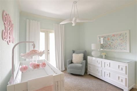 Girl's Nursery  Contemporary With Mint Green, White And