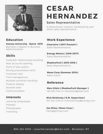 Resume Photo by Professional Resume Templates Canva