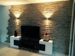 Kabel An Wand Befestigen : perfekt steinwand fernseher die besten 25 wohnzimmer ideen ~ Michelbontemps.com Haus und Dekorationen