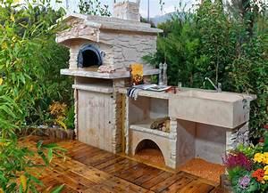 Evier D Exterieur Pour Jardin : cuisine d t ext rieure en pierre avec four pain vier ~ Premium-room.com Idées de Décoration