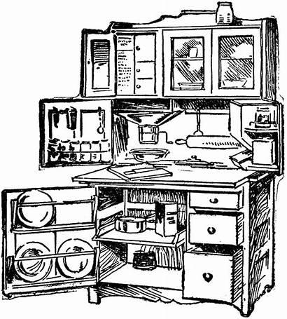 Kitchen Clipart Cabinet Cabinets Hoosier Digital Stamp