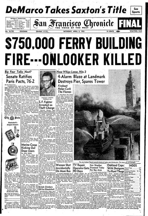 chronicle covers  ferry building fire