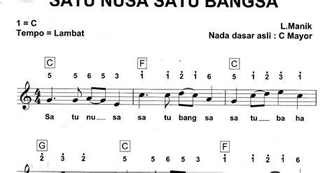 not angka satu nusa not angka lagu pianika lagu satu nusa satu bangsa pianika recorder keyboard suling