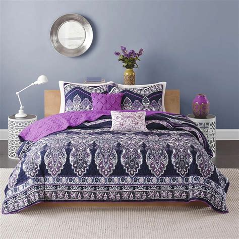 Lavender Coverlet by Beautiful Chic Bohemian Purple Blue Lavender Moroccan