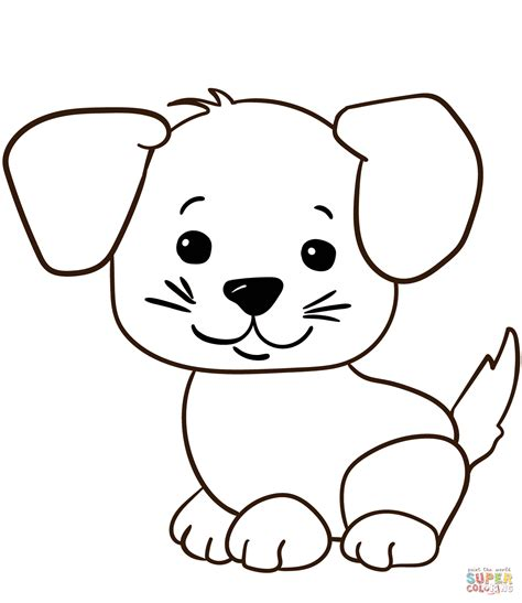 Cute Cartoon Puppy coloring page Free Printable Coloring