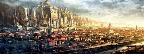 wallpaper fantasy art city cityscape skyline