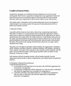 Policy template 10 free word pdf document downloads for Conflict of interest policy template