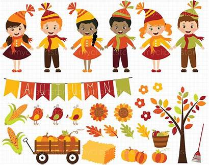 Harvest Fall Autumn Clipart Happy Vector Pencil