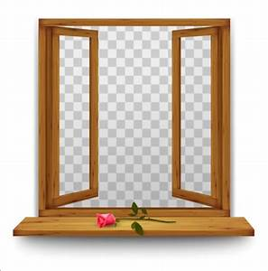 Open window with red rose and transparent background ...
