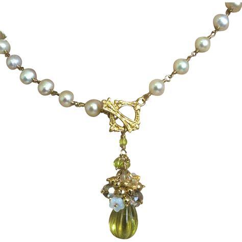 Carved Lemon Quartz Pendant, Bridal Pearl Necklace Gem