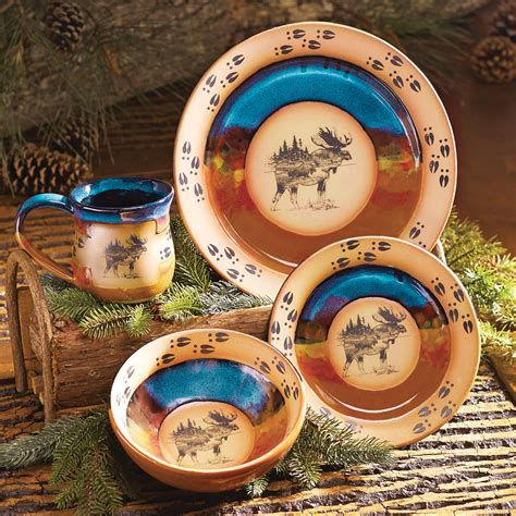 scenic moose pottery dinnerware  pcs