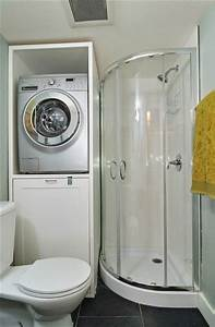 Small bathroom design storage under the washer or dryer for Bathroom ideas with washer and dryer