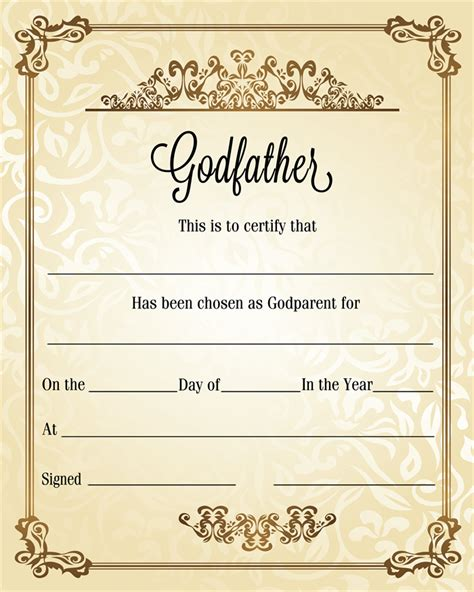 Godparent Certificate Template by Diy Personalised Christening Baptism Naming Day Godfather