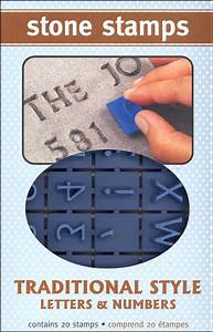 number stamp With concrete stamps letters and numbers