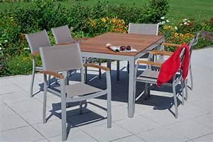 Merxx Gartenmöbel Set : merxx gartenm bel set 10 naxos 7 teilig aluminiumprofilrohr mit textilgewebe und akazienholz ~ Frokenaadalensverden.com Haus und Dekorationen