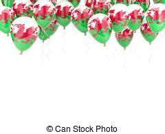 balloon frame  flag  wales isolated  white