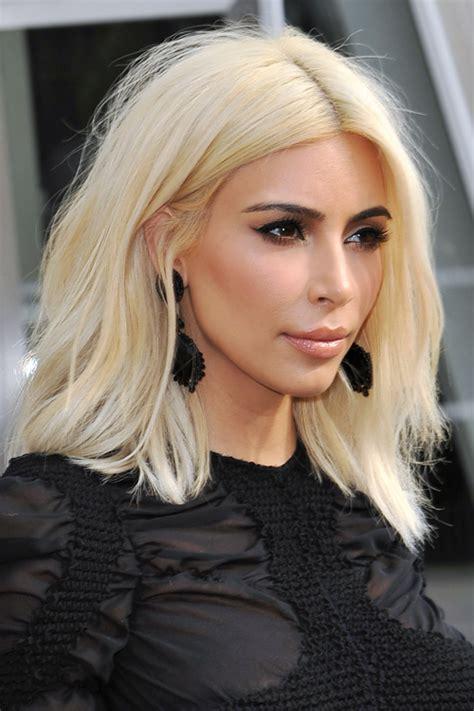 Kim Kardashian Straight Platinum Blonde Bob Hairstyle