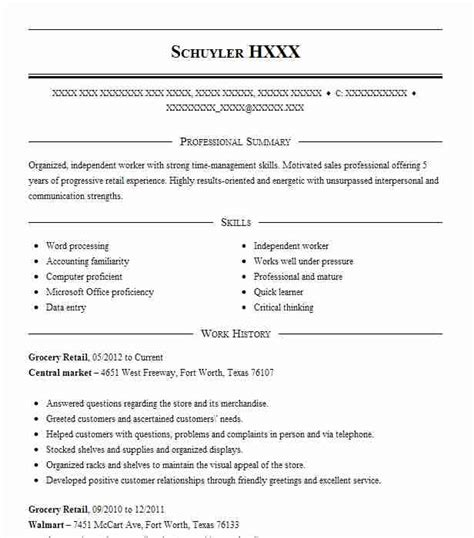 Grocery Store Resume by Grocery Retail Resume Sle Retail Resumes Livecareer