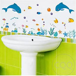 Dolphin fish sea world wall sticker shower tile stickers
