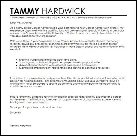 Resume For Employment Advisor by Career Advisor Cover Letter Sle Livecareer