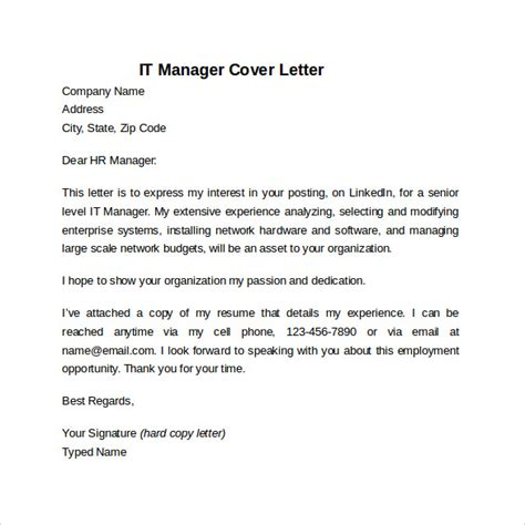 information technology cover letter templates