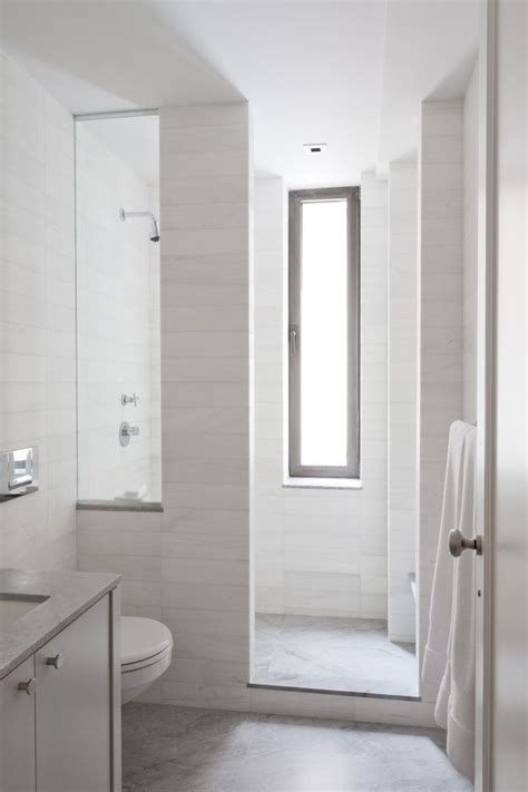 tile shower curb bathroom contemporary  tall narrow