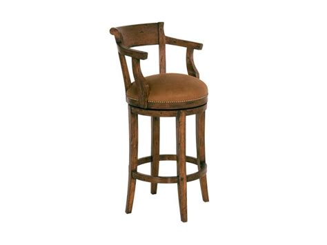 furniture brown wooden height stool with tiny back and