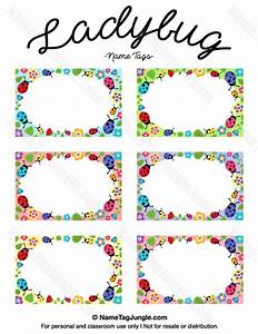 Free printable ladybug name tags the template can also be for Locker tag templates
