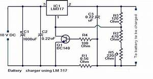 Batterychargercircuit U202c Using Lm317 The Circuit Can Be Used
