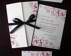 black tie formal wedding invitation cream fuchsia With wedding invitation ribbon tying