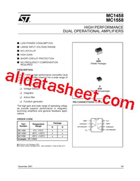 MC1458 Datasheet(PDF) - STMicroelectronics