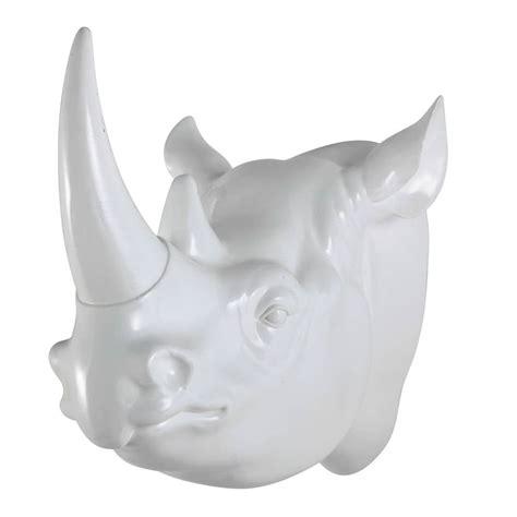 Déco Murale Tête De Rhinocéros En Résine Blanche L 45 Cm